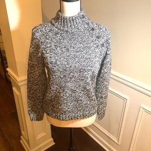 SALE - Chaps Black and White Button Sweater PL